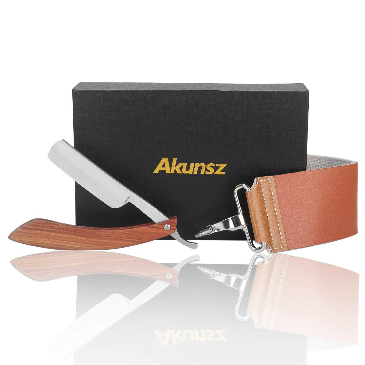 AKUNSZ Straight Razor Kit Cutthroat Razor Shave Ready Stainless Steel Shaving Razor with Leather Strop - One-Piece Rosewood Handle Ltd.