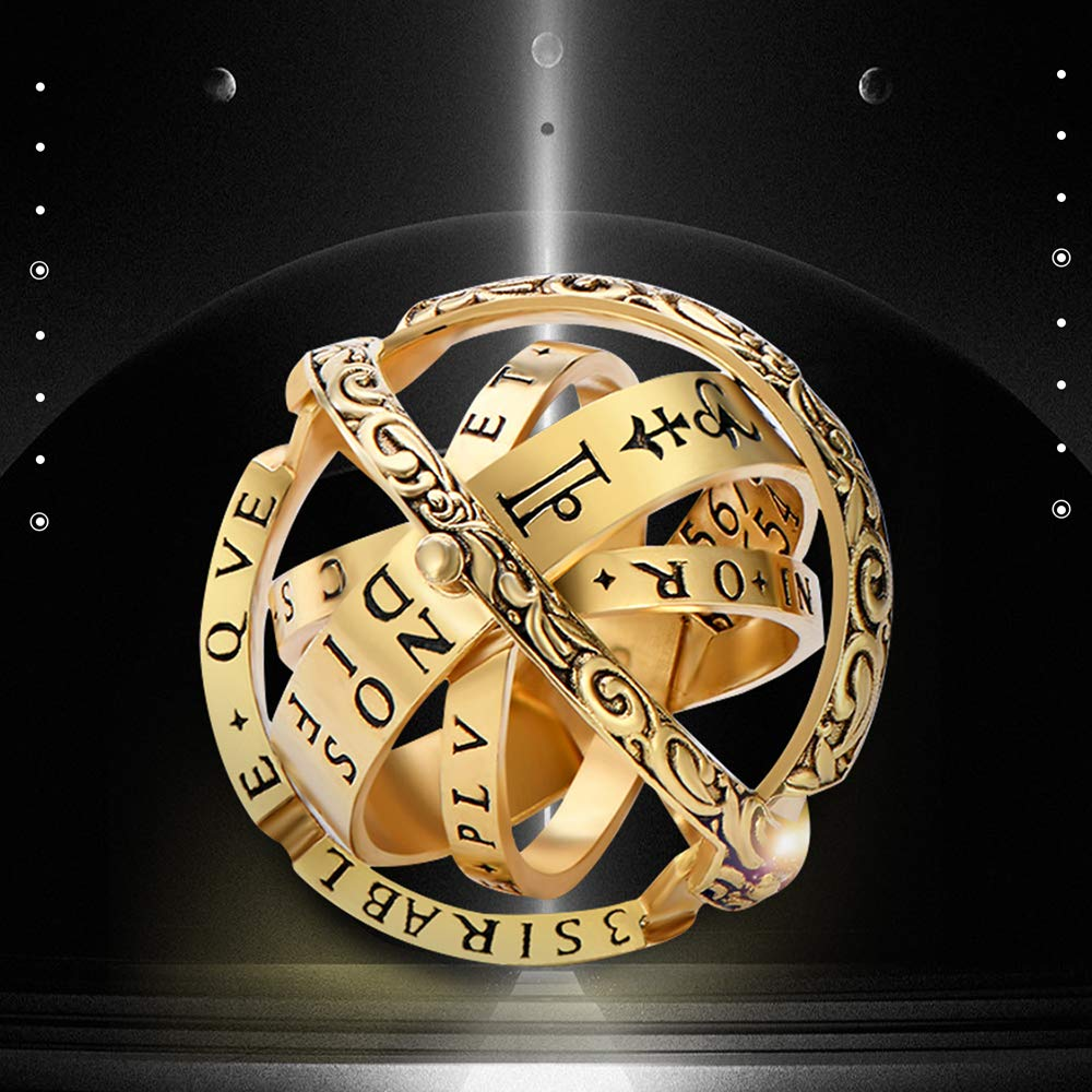 Close is Love,Open is The World,Best Gift for Lover Luxury Hand-Carved,Copper XIANGMENG Copper Gold Plated Astronomical Finger Foldable Ring That Folds Out to an Astronomical Sphere Ring