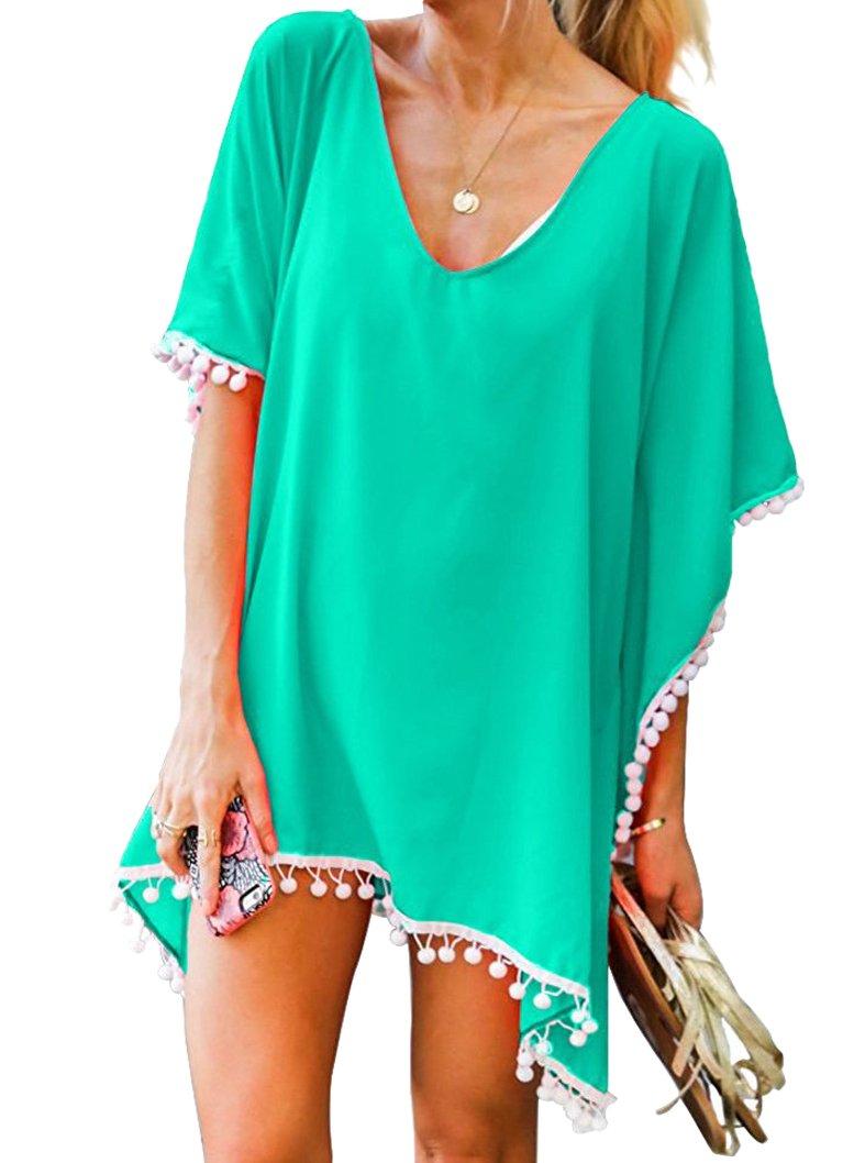 Oryer Womens Chiffon Tassel Beachwear Stylish Swimwear Bikini Swimsuit Cover up