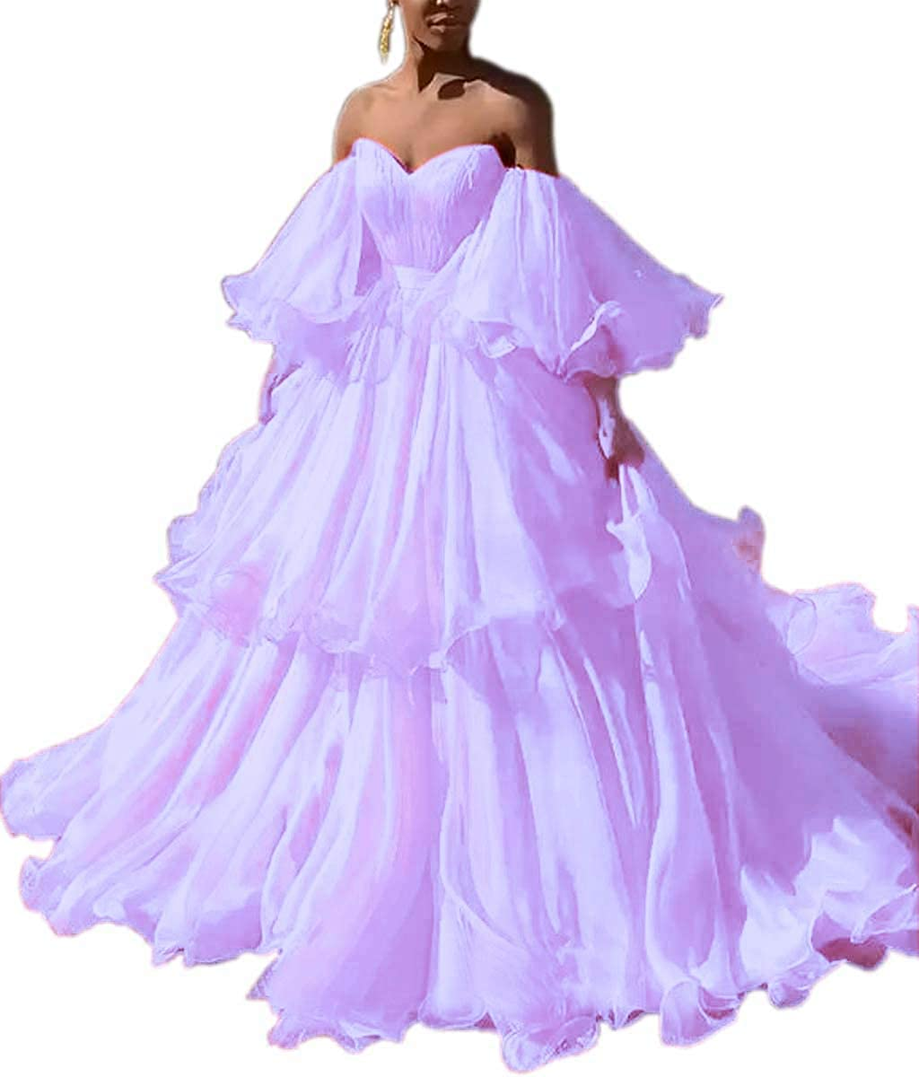 Lavender Mauwey Women's Sweetheart Bell Sleeve Long Ruffles Organza Formal Prom Dresses Wedding Dress Evening Party Gown