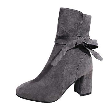 HhGold Tobillo Bota Plataforma para Mujer Tacones Altos Flock Bow Zapatos de Cremallera Bota Corta Calzado Informal (Color : Gris, tamaño : 2.5 UK): ...
