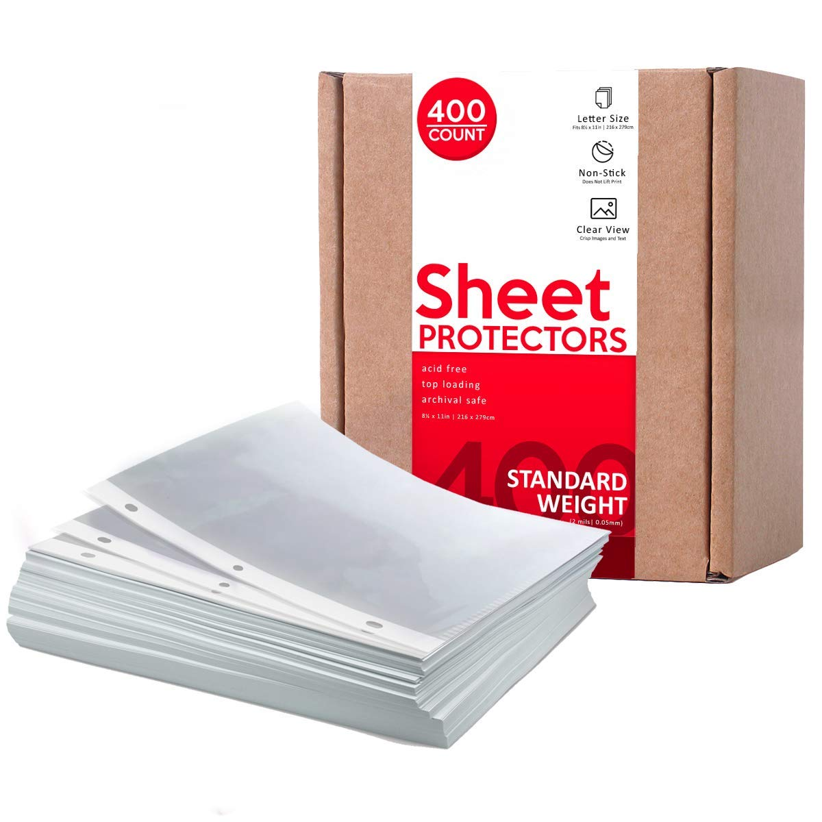 Huntz Standard Weight Clear Sheet Protectors - Letter Size (400 Pack) by Huntz