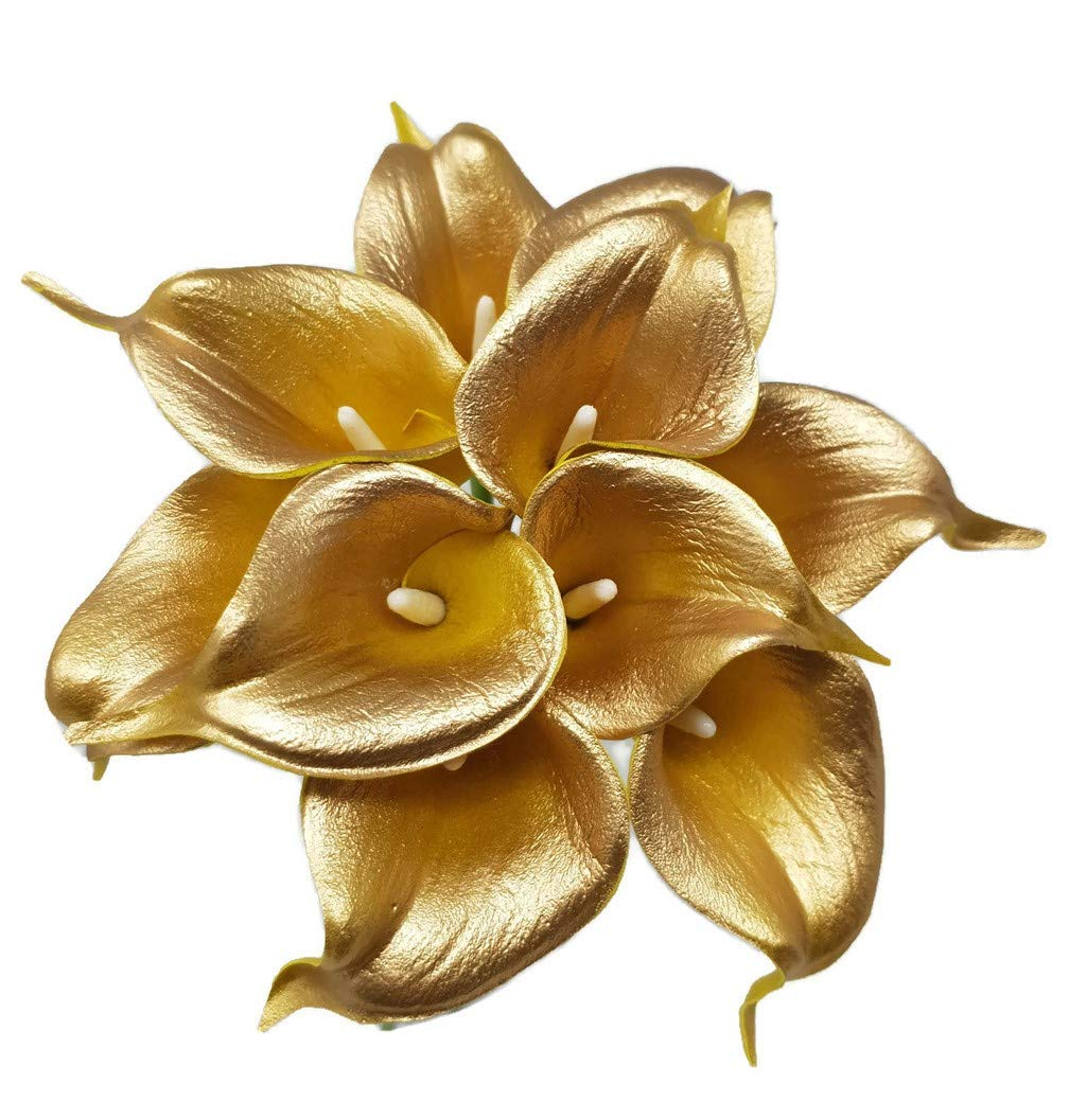 """silk flower arrangements floral kingdom usa 14"""" real touch latex calla lily bunch artificial spring flowers for home decor, wedding bouquets, and centerpieces (pack of 10) (18k gold)"""
