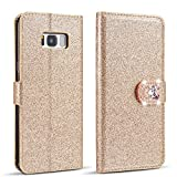 ZCDAYE Case for Samsung Galaxy S7 Edge,Luxury Bling Glitter [Magnetic Closure] PU Leather Flip Wallet [Love Diamond Buckle][Card Slots][Kickstand] Soft TPU Cover for Samsung Galaxy S7 Edge - Gold