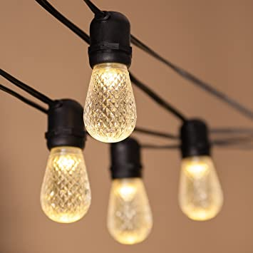 Wintergreen Lighting Commercial Patio String Lights, 54u0027 Black Wire With 24  S14 Warm White