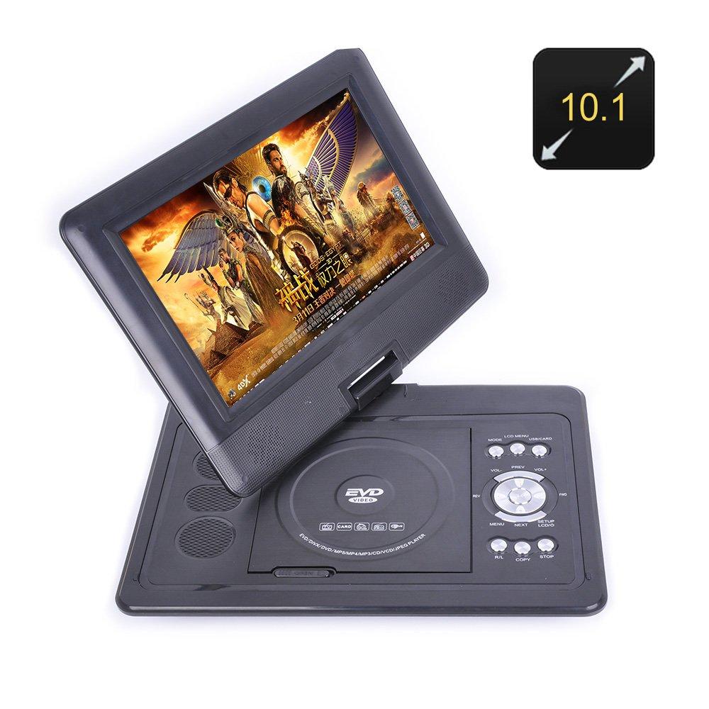 10.1 Inch Portable DVD Player - 270 Degree Swivel Screen, 1280x800, Region Free, Hitatchi Lens, Anti Shock, Game Emulation