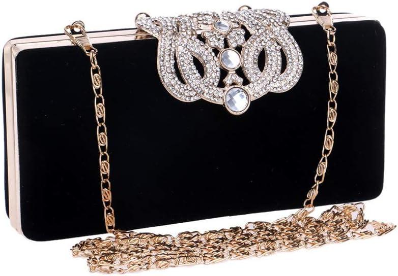 High-end Horizontal Square Suede Crown Evening Bag 16.54.58CM Fashion Color : Black Black//Blue//red//Purple Vintage Fashion Evening Bag for Ladies Handbag