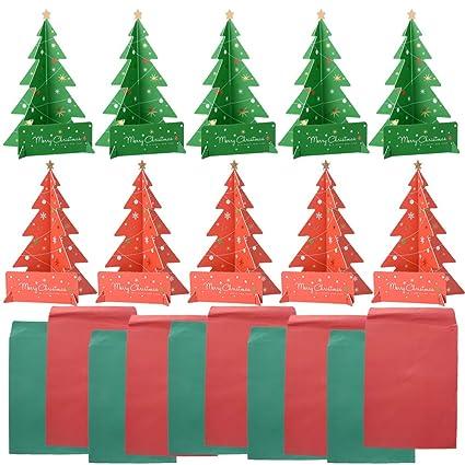 10pcs Tarjetas de Felicitación Arbol de Navidad Regalo Papel 3D con Tarjetas Sobres Color Verde Rojo (altura 18,6cm) (5pcs verde + 5pcs rojo)