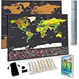 Scratch Off World Map With Professional E-book Premium Quality with US States and Country Flags, Large 32.5 X 23.5 inch (Black), Includes Scratcher, Black Bag, Memory Stickers By THT Travels