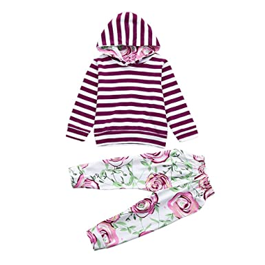 a6661cdc3c5d Amazon.com: XUANOU 2Pcs Toddler Baby Girl Boy Striped Hooded Tops Floral  Pants Outfits Set Clothes Kids Long-Sleeved Pullover Top: Clothing
