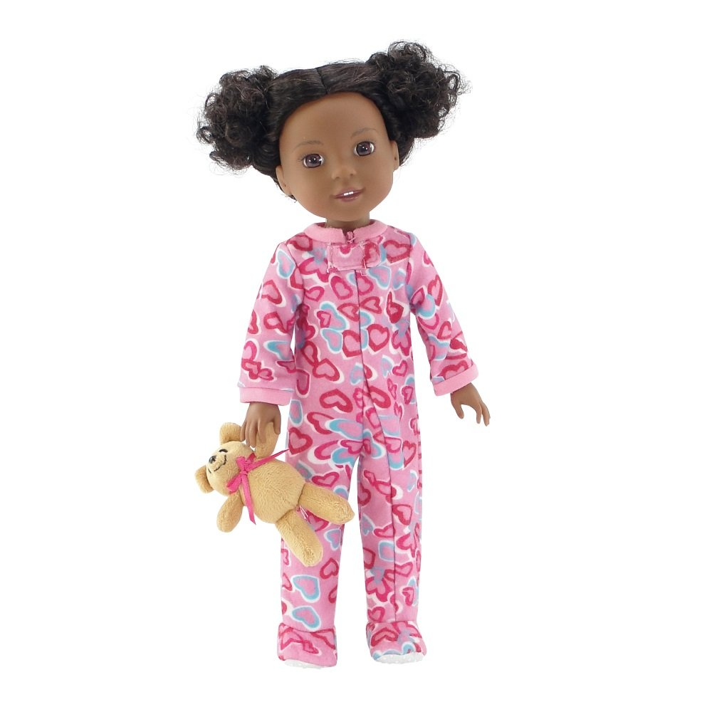 14 Inch Doll Clothes/Clothing | Pink Footed Heart Pajamas PJs Outfit with Teddy Bear | Fits American Girl Wellie Wishers Dolls Emily Rose Doll Clothes