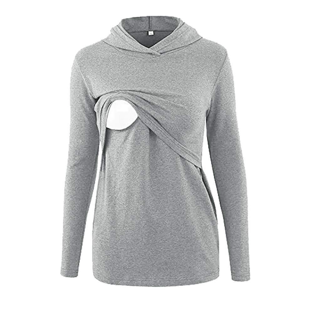 5c731c4e42d19 Rambling Women's Long Sleeve Nursing Tops Breastfeeding Hoodie Clothes  Maternity Shirt with Kangaroo Pocket at Amazon Women's Clothing store: