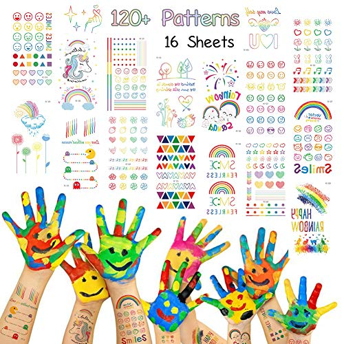 Rainbow Seies Temporary Tattoos 120 PCS for Kids or Teen Girls, Colorful Heart Flower Smile Face Emoji Good Mood Patterns Fack Tattoos Body Art Water Transfer Sticker Children Party Favors -