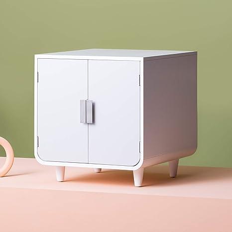 Staart Caja de Arena de Madera para Gatos Dyad en Color Blanco Alpino, White,