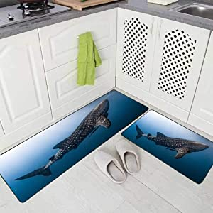 Doocilsh Kitchen Rugs,Kitchen Rugs Washable for Women and Men,17X48+17X24Inches Whale Shark Very Near Looking You Underwater in Does Not Attack Humans Papua It Kitchen Rug