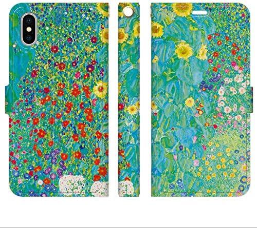ベルトなし iPhoneXR 手帳型 ケース カバー クリムト ヒマワリの咲く農家の庭 花柄 Garden with 花 絵画 名画