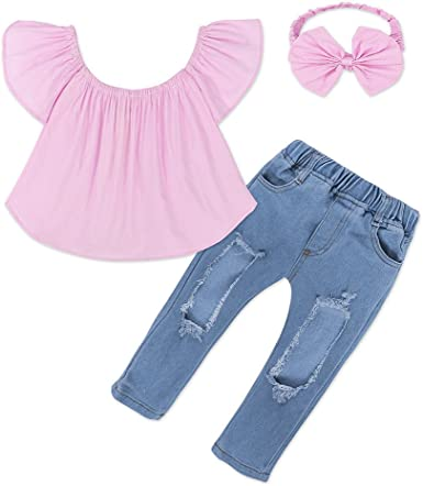 Kids Girls Off Shoulder Top Hole Jeans Headband 3Pcs Outfit Set