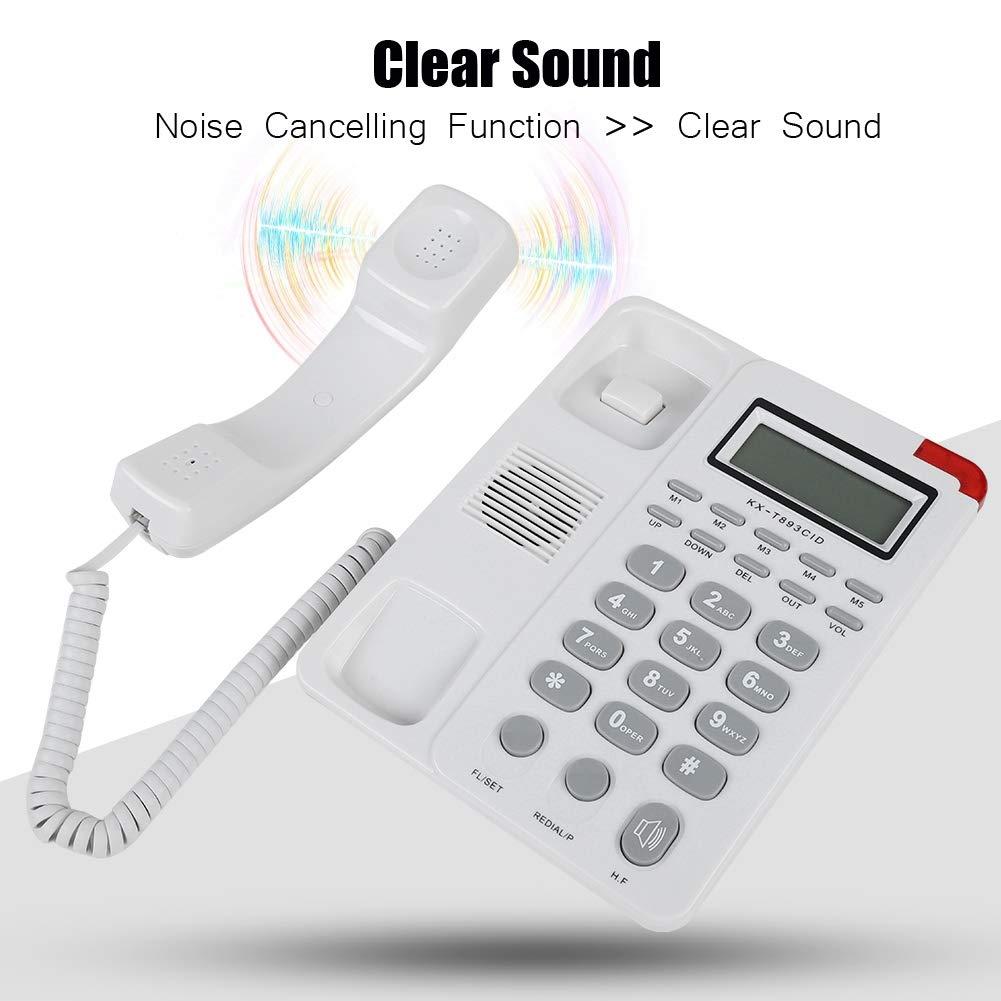 Noir Eboxer T/él/éphone Fixe Filaire DTMF\FSK Ecran LCD Composition Rapide//Abr/ég/ée Suppression du Bruit 3 Groupes Alarmes pour Maison Bureau