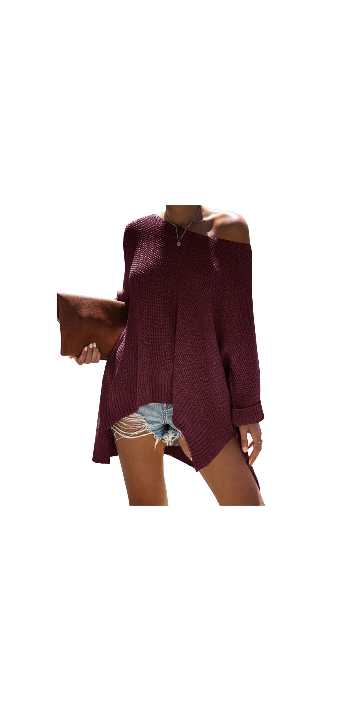 Women Off The Shoulder Sweater Oversized Batwing Low