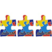 "3 PCS Puzzle Piece Autism Awareness Enamel Lapel Pin Small Size 1"" Height"