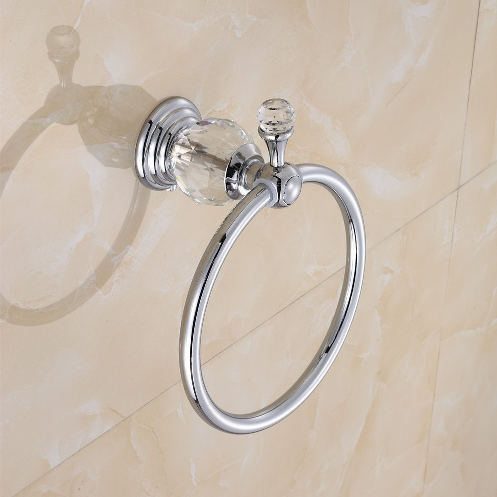 Gold Ruddock QD681 Antique Brass Gold//Chrome Towel Ring Bathroom Crystal Towel Rack Wall Mounted