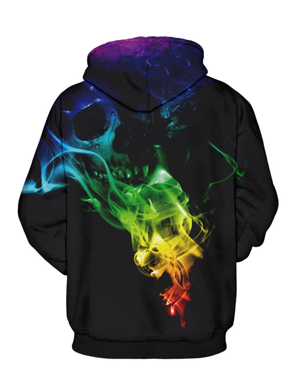 Rainbow Pullover for Adult Colorful Skull Hooded Cute Kids Skeleton Hoodies Drawstring Sweatshirt with Big Pocket Sports Couple Wear Outfits Party Costumes Size Large/X-Large