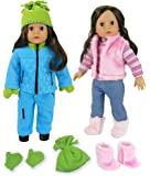 Doll Clothes & Doll Shoes for 18 Inch Doll Includes 8 Pieces by Sophia's, Pink Casual Winter Outfit Plus Blue Polar Fleece Snow Set