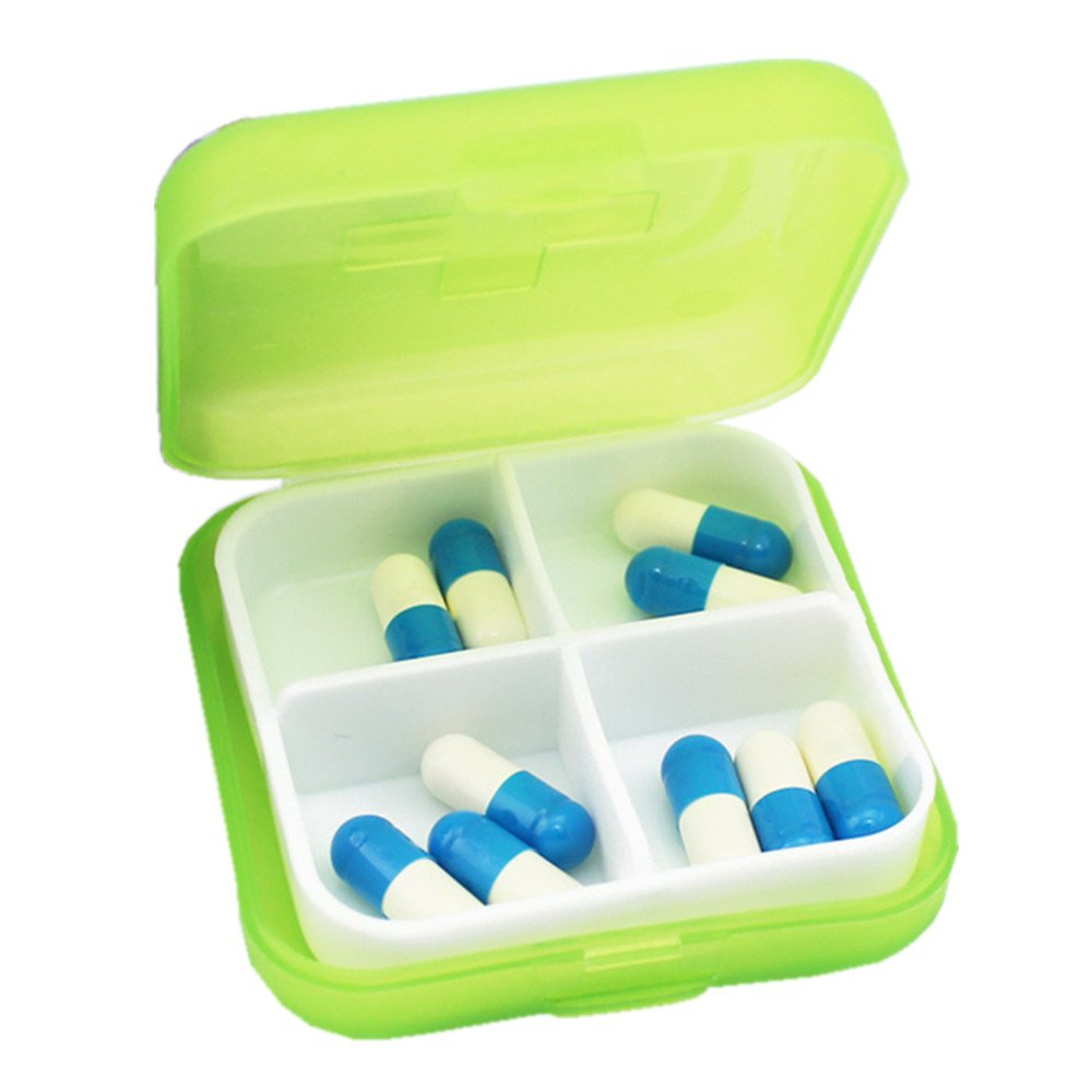 FangDon Small Pill Box Supplement Case for Pocket,Mini 4 Slots Portable Medical Pill Box Drug Medicine Case Organizer
