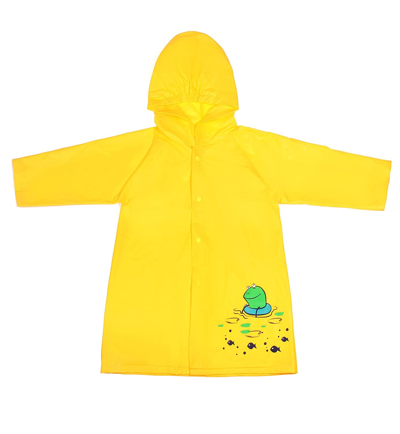 Lorata Kids Cartoon Rainwear Children PVC Raincoat Hooded with Button