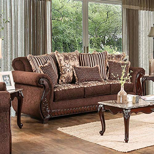 Benzara BM137791 Traditional Style and Leatherette Sofa, Brown
