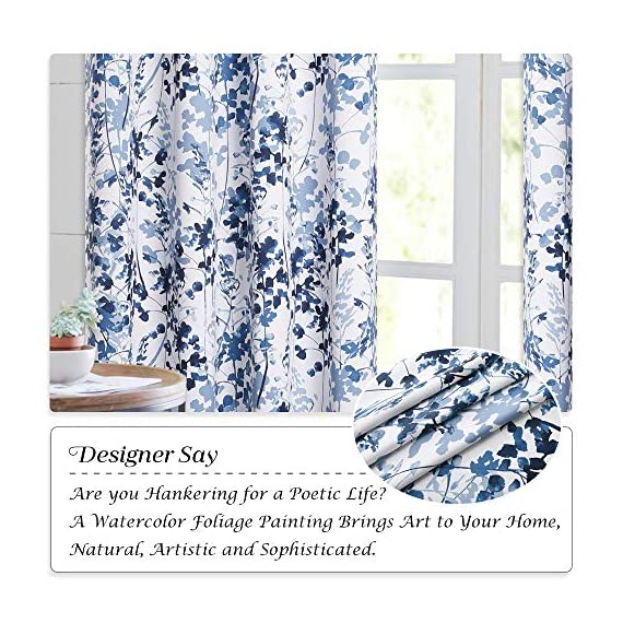 "KGORGE Printed Blackout Curtains with Pattern - Sunlight/UV Ray Reducing Grommet Top Window Draperies, Elegant Watercolor Foliage Patterned Art Gallery/Salon Decoration (Blue, W52 x L63, 2 Pcs) - READY MADE: Sold in pair, KGORGE Printed Blackout Curtains measure 52"" wide by 63"" long per panel. 8 silver grommet top fit any standard or decorative curtain rods up to 1.5"". Easy and convenient to hang as soon as you receive it. WATERCOLOR PAINTING: The vivid foliage pattern on white background gives the curtain an exclusive look with natural and exuberant sense. The watercolor gradient-blue is just perfect, lending artistic sophisticated feeling to your rooms. ROOM DARKENING: Providing 80%-95% sunlight/UV ray blocking, the curtains serve well for night shift workers and late sleepers. It also can fulfill your different needs like temperature balance, noise reduction and privacy protection... - living-room-soft-furnishings, living-room, draperies-curtains-shades - 61AAYHp6WTL. SS570  -"