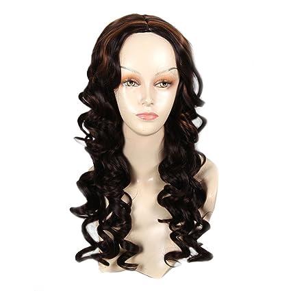 African American sintético pelucas para mujeres modernas pastel marron largo ondulado peluca afro