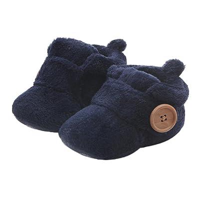 Zapatos Bebe Invierno BBsmile Recién Nacido Niñas Niños Primeros Pasos de Felpa con Botón