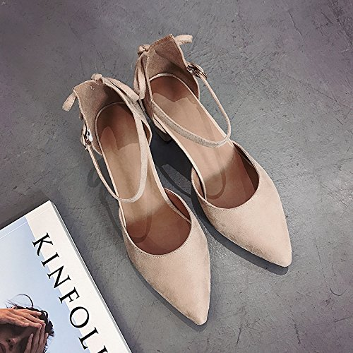 à Chaussures Femme 34 Sandales Chaussures Papillon Talons Chaussures des Hauts Simples Noeud Sauvages avec Femmes Fendue Attaches Pointues Beige HF6q1npw