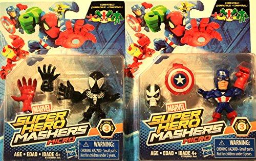 Marvel Avengers Super Hero Mashers Micro Series 3 Action Figure - Black Spider-Man & Modern Captain ()