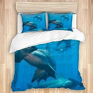 LUNASVT Bedding Set Three Hammerhead Sharks Home Decor Bedroom Bedding Decorative Custom Design 3 PC Duvet Cover King Size