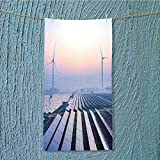 AmaPark Fast Dry Towel Before Sunrise Solar Power Plants Excellent Water Absorbent Antistatic w13.8 x H27.5 INCH