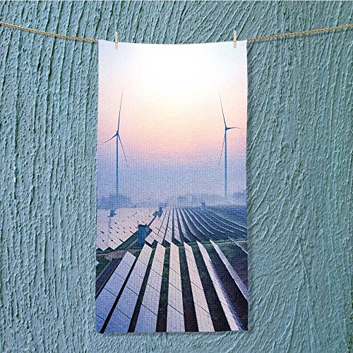AmaPark Fast Dry Towel Before Sunrise Solar Power Plants Excellent Water Absorbent Antistatic w13.8 x H27.5 INCH by AmaPark