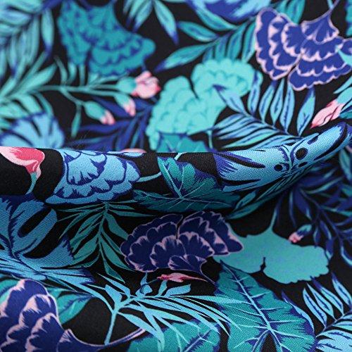 Soire Soire Dcontracte Robe 's Robe Manches de Moulante Audrey Hepburn up Cocktail pin 1950 Imprim Licou Robe Style Vintage de Bleu Femmes Floral Lonshell q10Hv