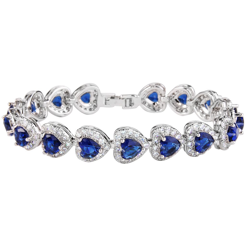 Ever Faith Women's Full Zircon Elegant Heart-shaped Roman Tennis Bracelet Royal Blue Silver-Tone N08455-6
