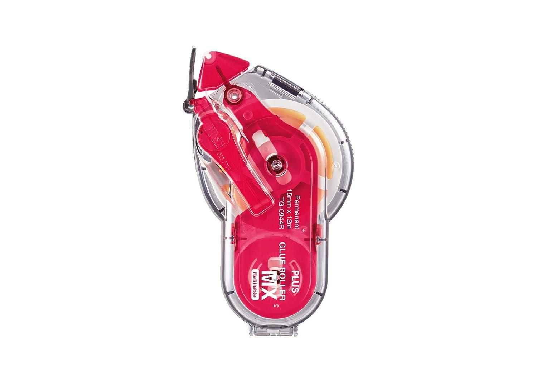 PLUS Japan Adesivo roller MX, permanente e ricaricabile, 15 mm di larghezza, 12 m di lunghezza, rosso Plus Europe GmbH TG-0944