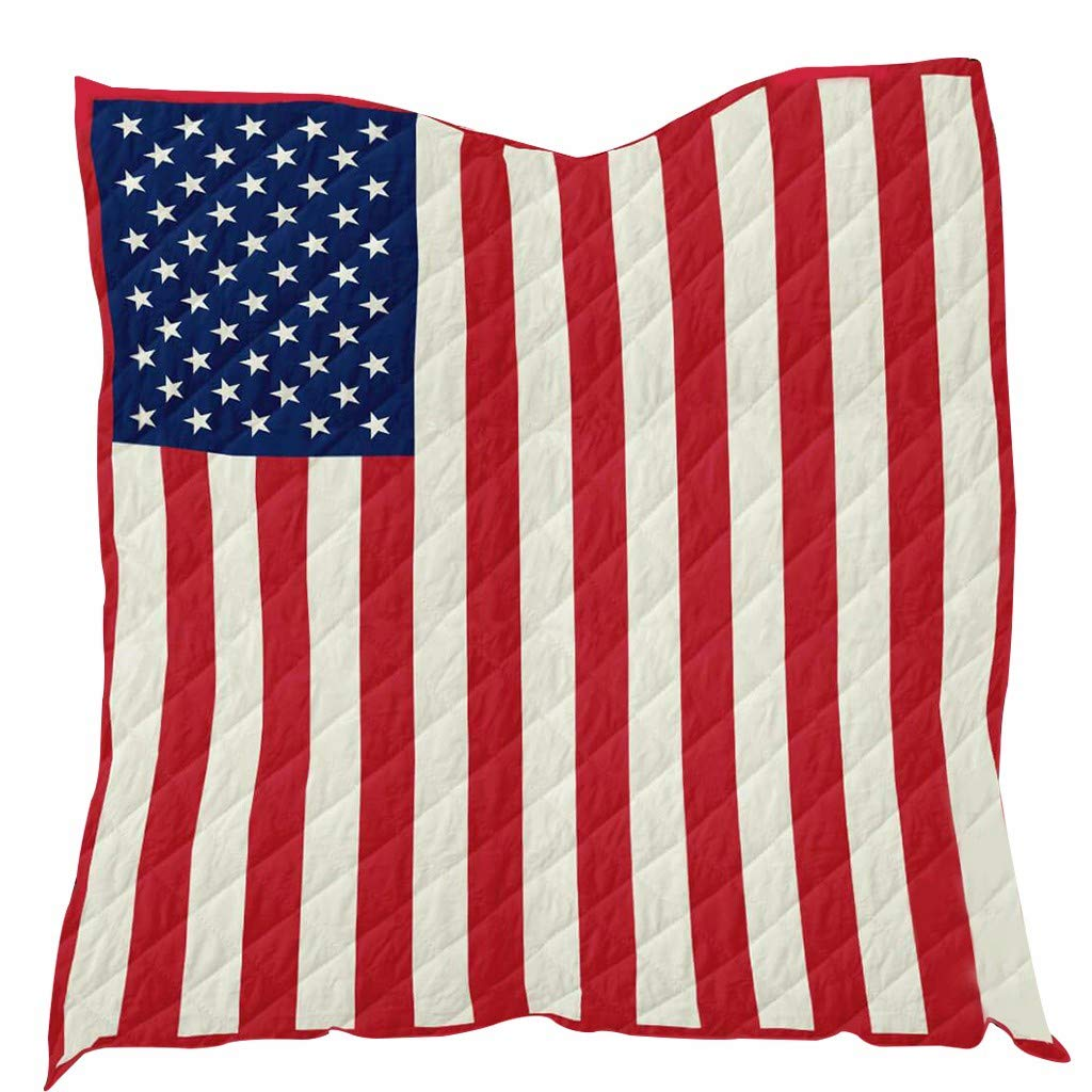 FINEjuyudd American Flag Blanket Quilt All Season Quilt Quilt Reversible Cotton Travel Picnic Beach Travel Concert and Family Blanket by FINEjuyudd