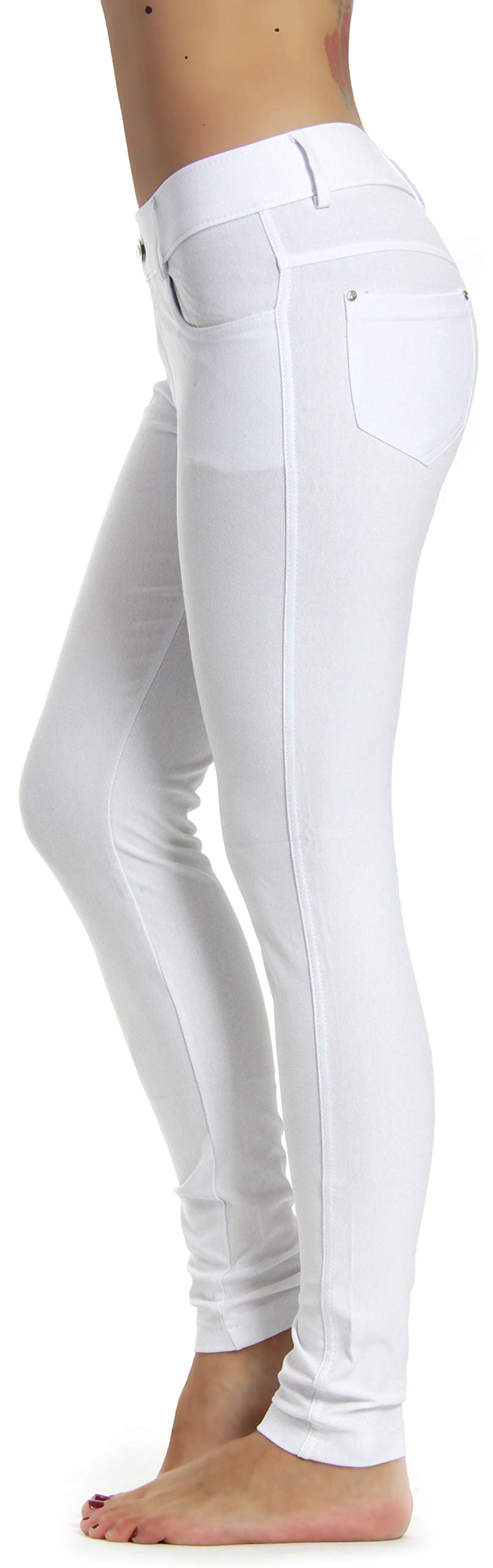 Prolific Health Women's Jean Look Jeggings Tights Slimming Many Colors Spandex Leggings Pants S-XXXL (XX-Large, White)