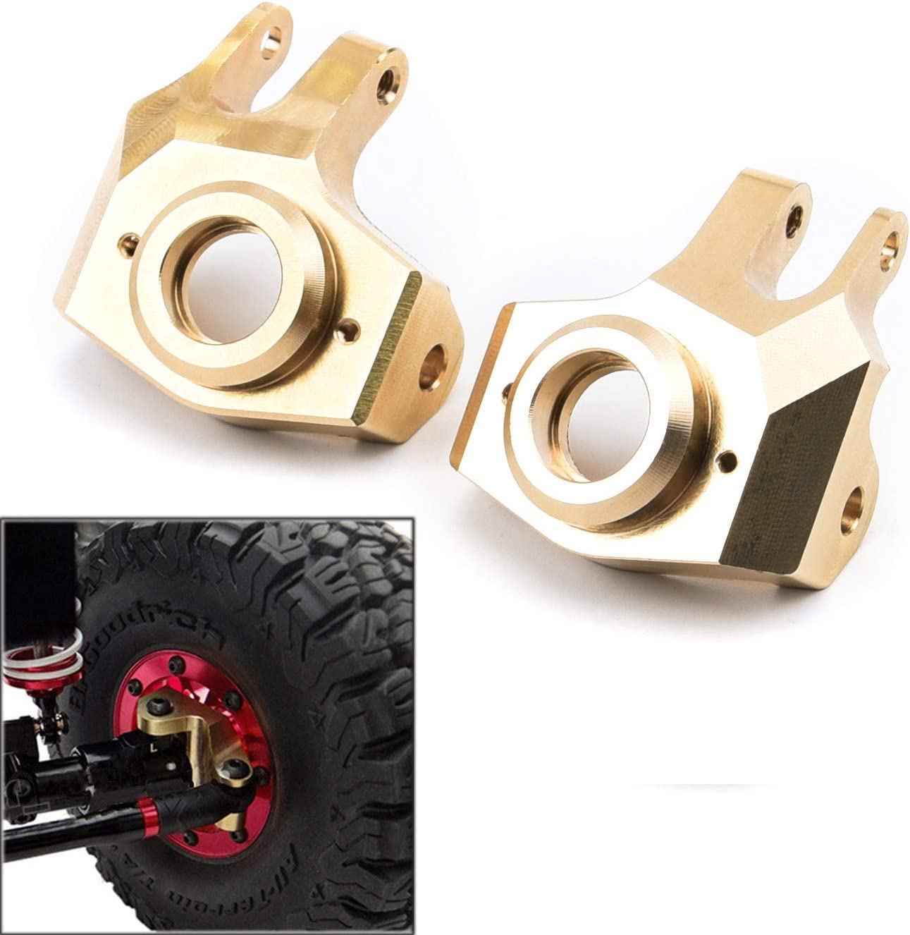 FPVKing Front Steering Knuckle Heavy Duty Metal Brass for 1//10 RC Crawler Axial SCX10 II 90046 Upgrade Parts