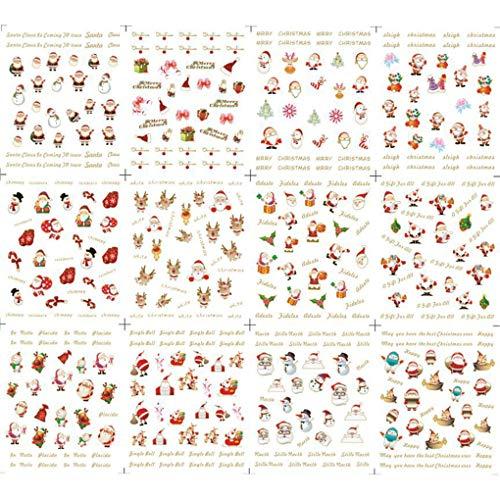 Christmas Halloween Nail Sticker Lovely Flower Heart Cartoon Glitter Toe Wraps Decorations Decals -