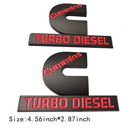 2pcs (Small Size) Cummins Turbo Diesel Emblem Badge High Output Replacement for RAM 2500