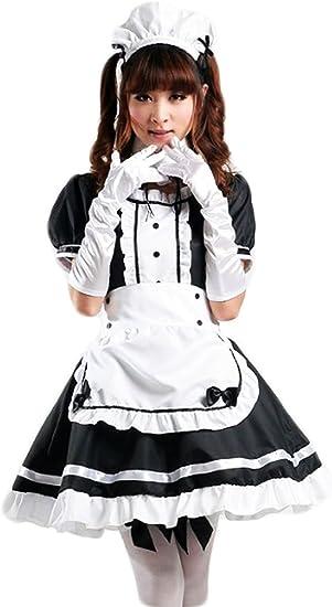 Fangteke Traje de Sirvienta Francesa Disfraz de Cosplay de Anime para Mujer Vestido de Sirvienta Francesa Disfraz Elegante para Festival