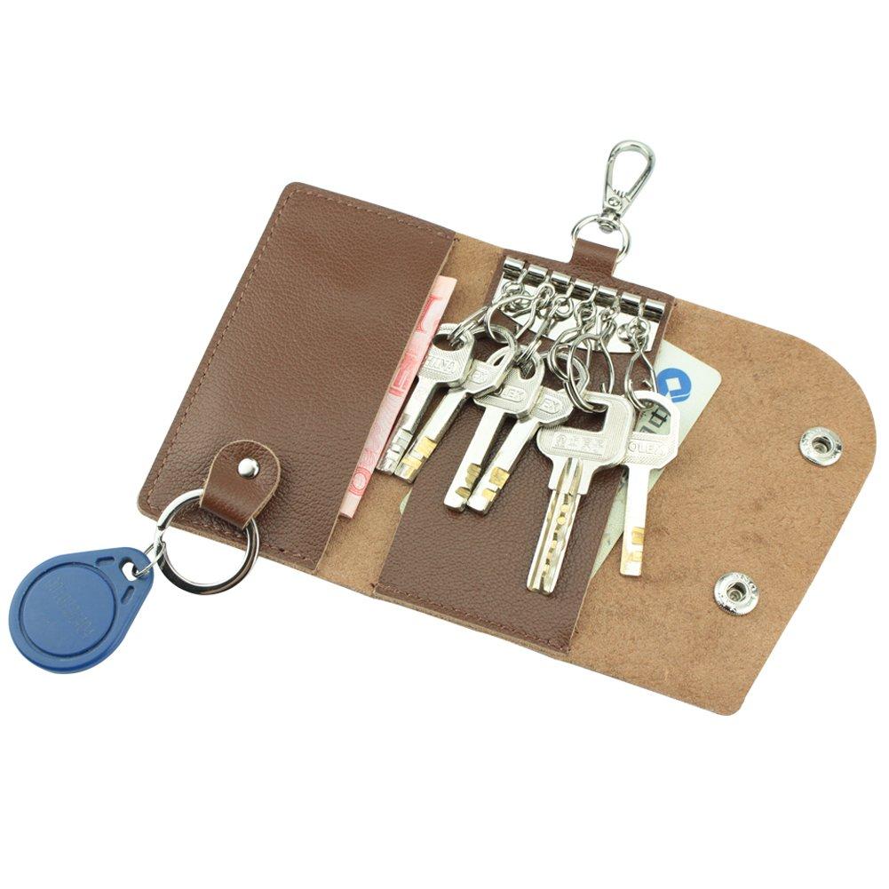 MuLier Genuine Leather Key Wallet Key Holder/Case 6 Hooks Keyring Case (Brown) KB0007-brown
