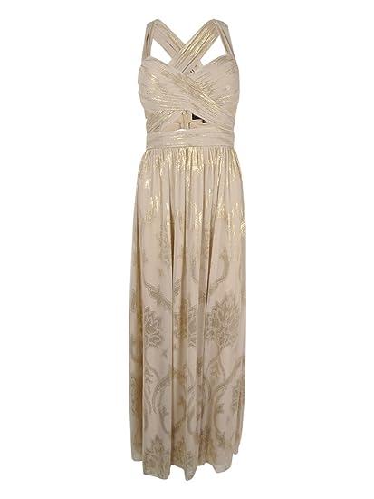 624427d06f4 Betsy   Adam Womens Metallic Pintuck Evening Dress Gold 2 at Amazon Women s  Clothing store