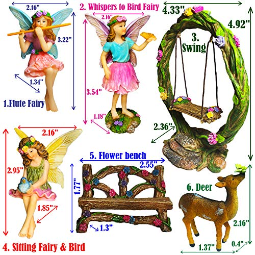 Mood Lab Fairy Garden Kit - Miniature Figurines with Accessories Swing Set of 6 pcs - Hand Painted for Outdoor or House Decor by Mood Lab (Image #1)